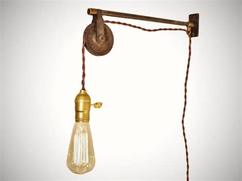 vintage industrial pulley l wall mount pendant light