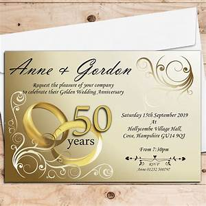 10 personalised gold rings 50th golden wedding anniversary With 1 year wedding anniversary invitations