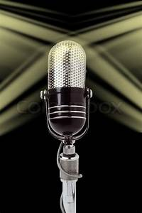 Vintage microphone over black background | Stock Photo ...