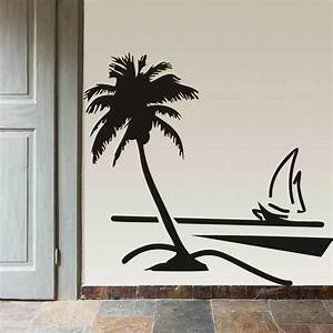 new palm coconut tree decal vinyl art wall papers sailboat With beautiful palm tree decal for wall