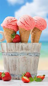 Wallpaper ice cream, strawberry, anchor, delicious, 8k ...