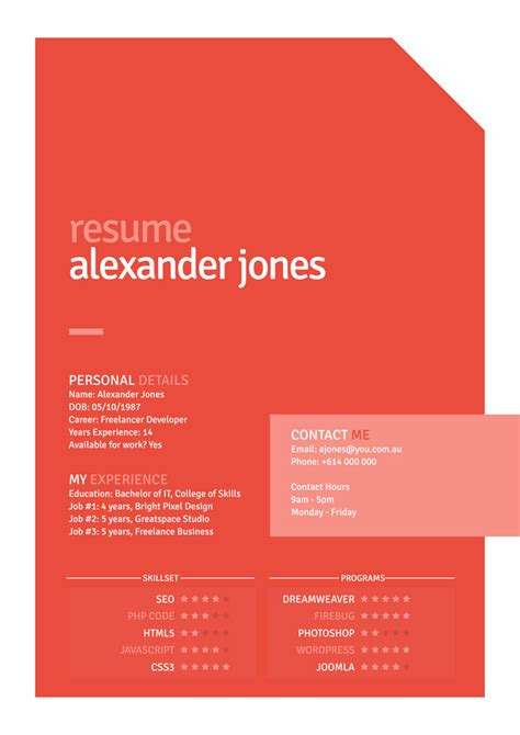 A number of documents are available on the website you will find samples as well as cv templates and models that can be downloaded free of charge. Free Orange Flat Style Resume PSD