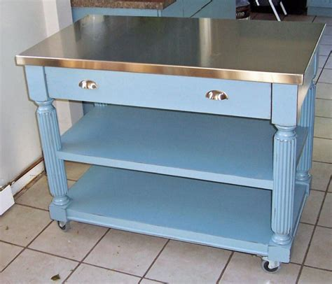 stainless steel kitchen island on wheels momentous kitchen island cart stainless steel top with distressed blue paint colors also heavy