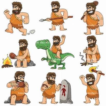 Caveman Prehistoric Cartoon Clipart Vector Friendlystock Dinosaur
