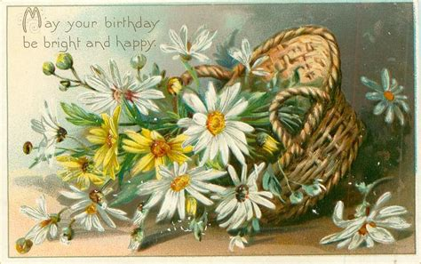 birthday  bright  happy basket  daisies