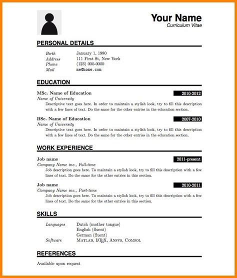 Model De Cv Simple by Cv Simple Exemple Model De Cv Word Simple Artere Adour Tigf