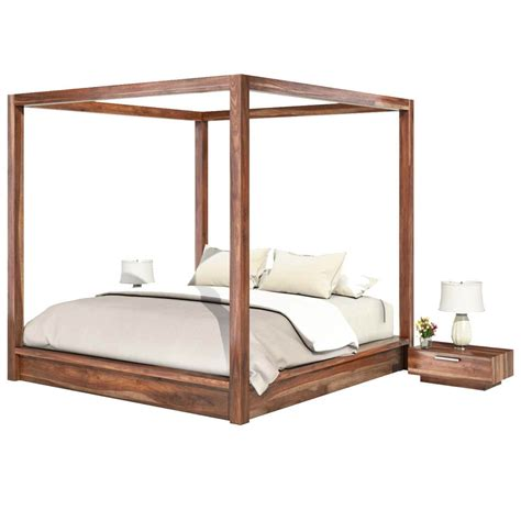 hampshire rustic solid wood king size canopy bed
