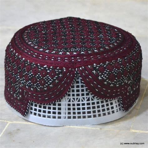 buy maroon jamali sindhi cap topi hand  mk