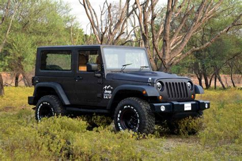 open jeep modified in black colour 5 best thar to wrangler conversions in india