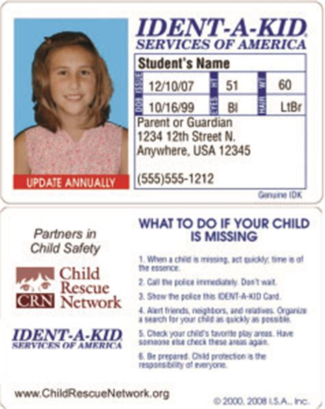 child safety id cards child rescue network