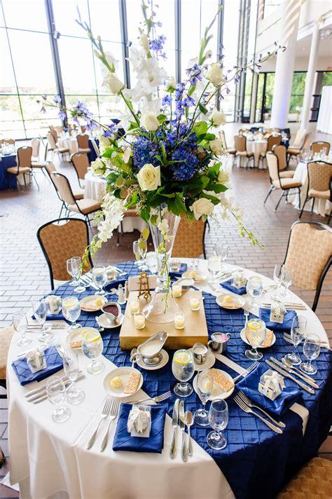 floral explosion tablescapes royal blue wedding
