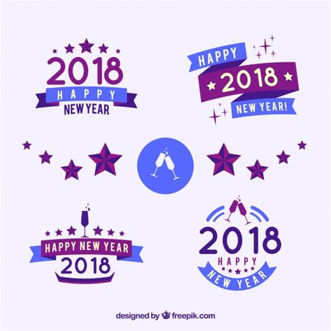 colors for new years collection of simple new year badges in blue and lilac