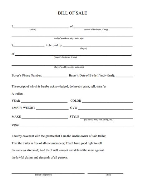 Boat Bill Of Sale Maine by Free Maine Trailer Bill Of Sale Download Pdf Word