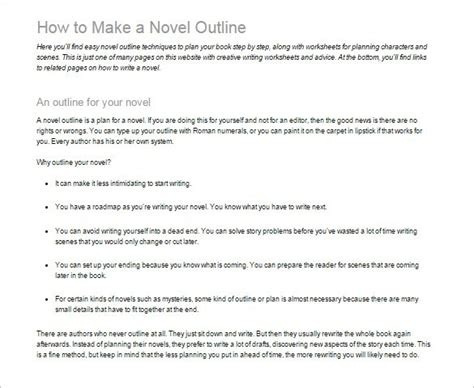 writing a novel outline template 7 novel outline templates doc pdf excel free premium templates
