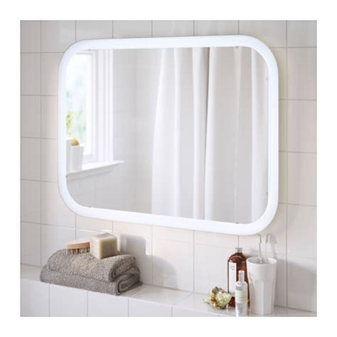 storjorm mirror with integrated lighting white 80x60 cm ikea