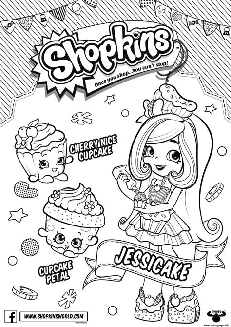 shopkins doll chef club jessicake  coloring pages printable