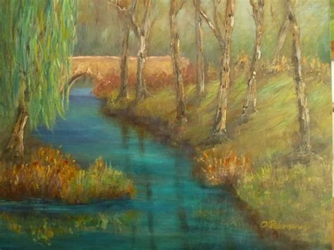 Willow Boat Painting by Weeping Willow Bridge Painting Palomares Coastal