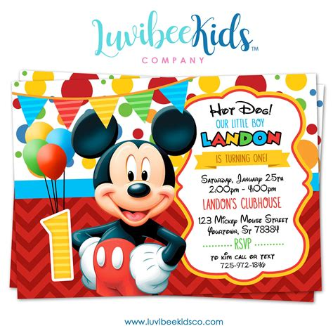 mickey mouse birthday invitation printable invite