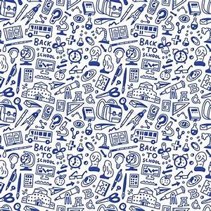 School education - seamless pattern with icons in sketch ...