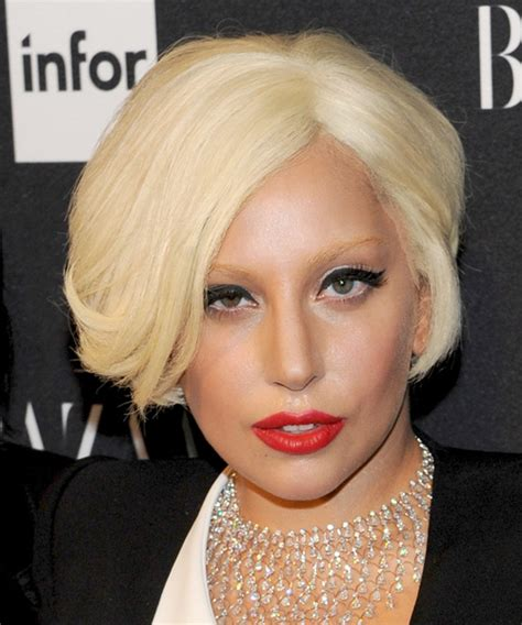 lady gaga formal short straight hairstyle light blonde