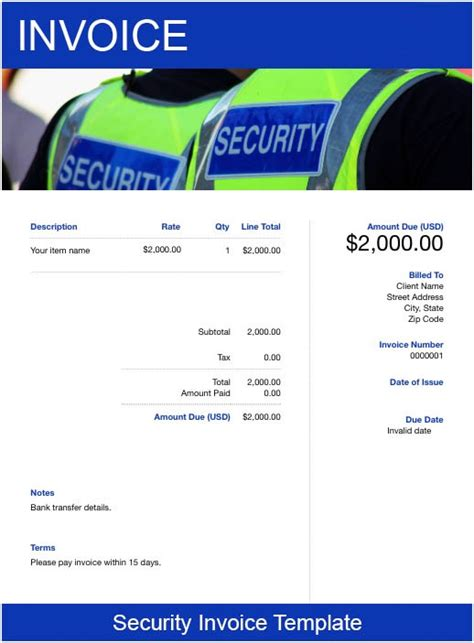 security invoice template   send  minutes