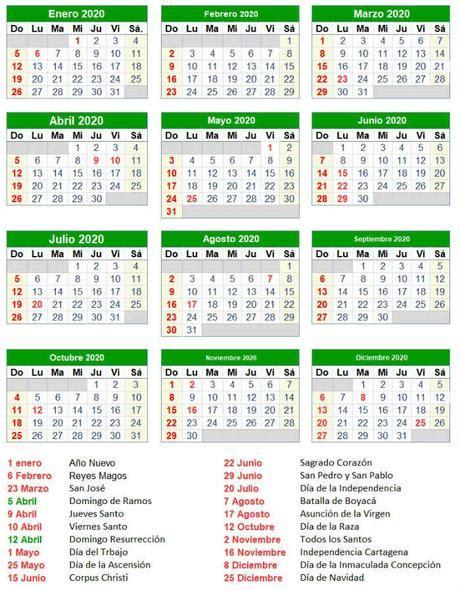 calendario festivos colombia paperblog