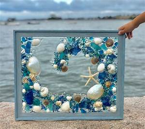Large, 19, X, 23, U0026quot, Beach, Glass, Panel, In, Blue, Frame, With, Shells, Free, Shipping, Mermaid, Gifts