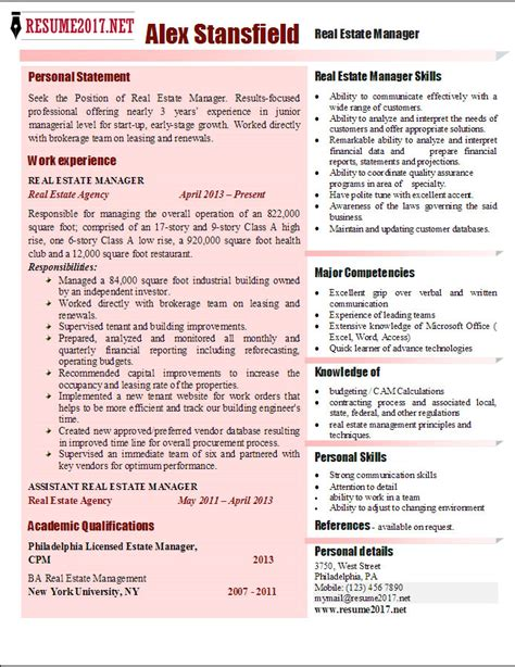 Real Estate Manager Resume Template by Real Estate Manager Resume 2017 Exles