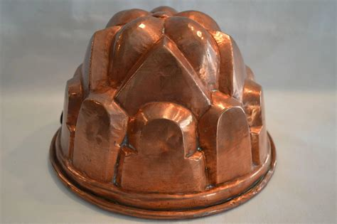 large hammered copper mold  wide tin lined late  timber hills antiques ruby lane