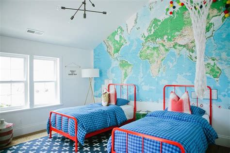 world map accent wall traditional boys room sherwin