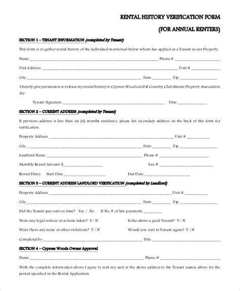 free rental history verification form 10 sle rental verification forms sle templates