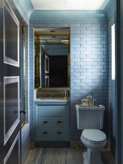 blue bathroom  brick tiles contemporary bathroom