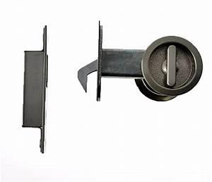Satin-Nickel-Round Sliding Door Privacy Lock-Door-Hardware