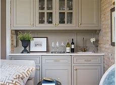 Living Room Wet Bar with Gray Cabinets Transitional