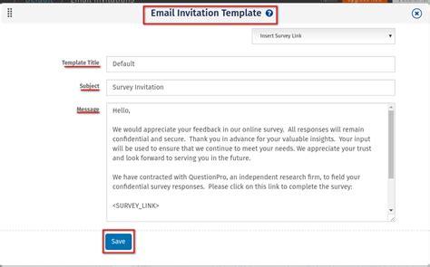 survey email template creating survey invitation email surveyanalytics survey software