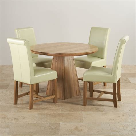 Provence Dining Set in Real Oak Table + 4 Leather Cream