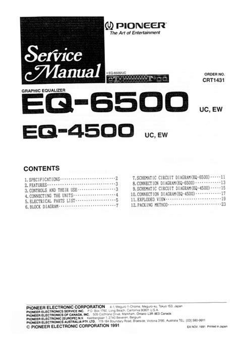 pioneer eq 6500 uc ew service manual pdf file