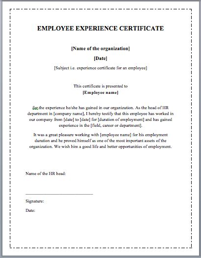 Certificate Of Employment Template by Employee Experience Certificate Template Microsoft Word