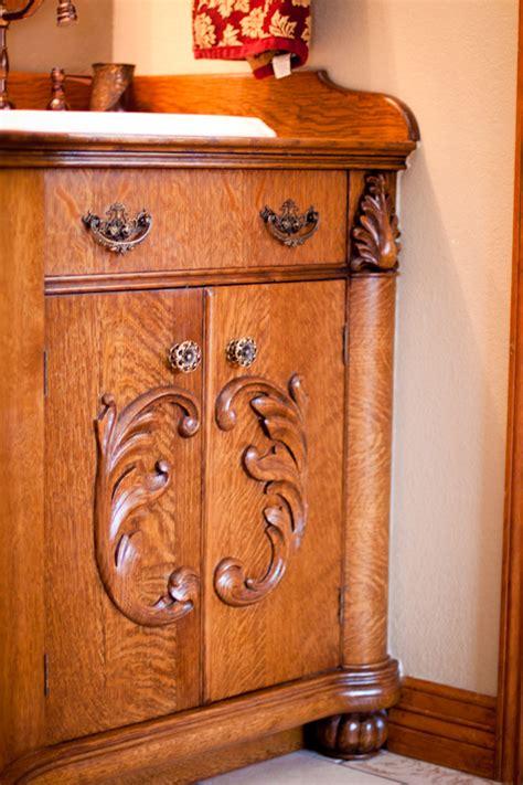 victorian style oak bathroom vanity pinandscrollcom