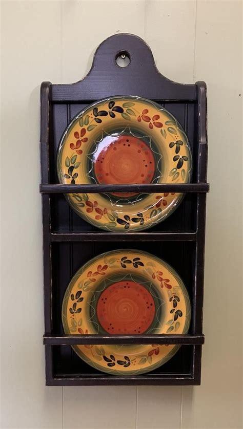 plate rack wall hanging plate display rustic farmhouse plate shelf