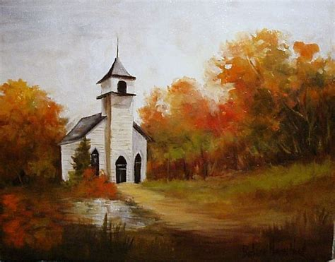 Old Church Paintings Country Church In Fall By Barbara