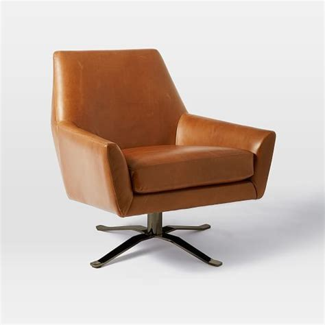 lucas leather swivel base chair saddle west elm
