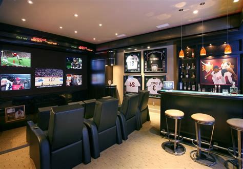 small man cave home theater contemporary  black
