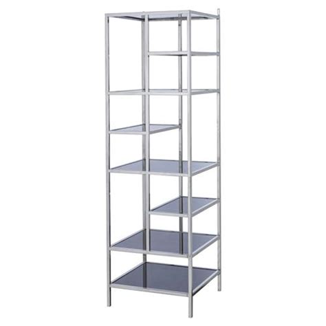 Stainless Steel Etagere by Hoppen Miro Modern Black Glass Stainless Steel