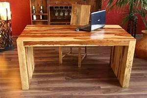 Schreibtisch Holz Natur : schreibtisch esstisch holz 160x80x77 natur honig massiv sheesham k chentisch neu ebay ~ Frokenaadalensverden.com Haus und Dekorationen