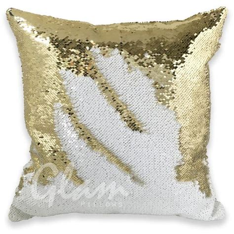 gold sequin pillow white gold reversible sequin glam pillow glam pillows