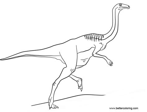 Kleurplaat Jurassic Park by Jurassic World Gallimimus Coloring Pages Free Printable