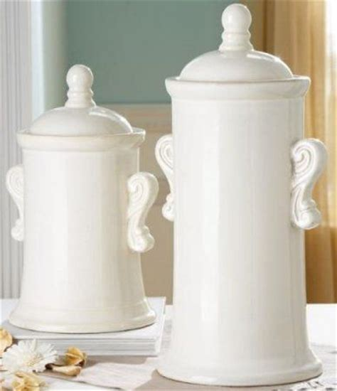 for decorative purposes only cbk styles 90948 set of 2 canisters with scroll handles white finish style
