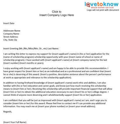 sample scholarship recommendation letter lovetoknow