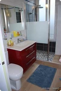 douche a l39italienne pour cette salle de bain eco logis With porte de douche coulissante avec meuble une vasque salle de bain